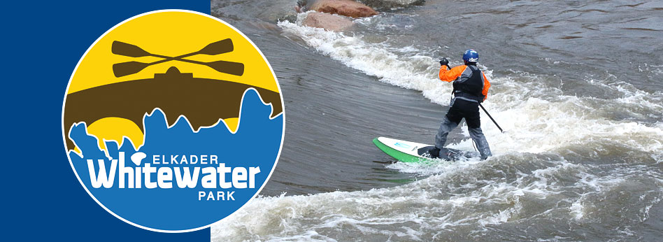Elkader Whitewater Park logo, kayak on whitewater feature