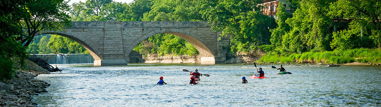 Kayaks on Turkey River in Elkader